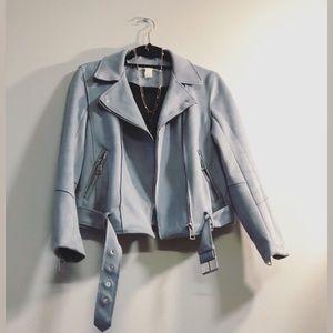 Light Blue Suede-Textured H&M Jacket